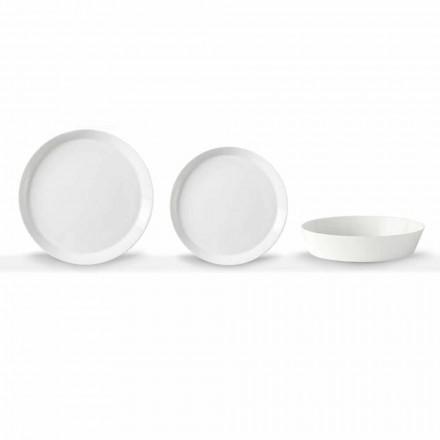 Elegantes Design Weißes Porzellan 18-teiliges Teller-Set - Egle