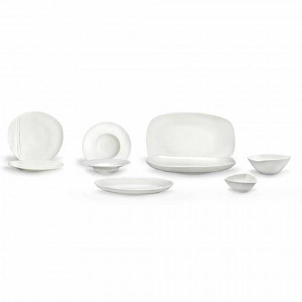 Geschirrset aus weißem Porzellan 23 Teile Modernes und elegantes Design - Nalah