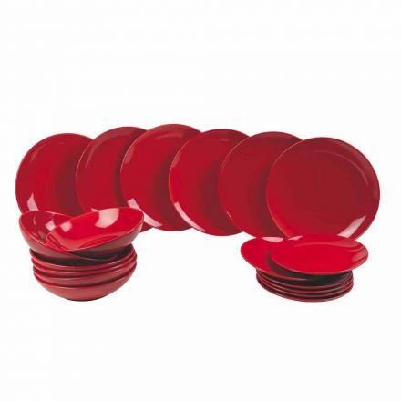 Rote Weihnachtsteller in Steinzeug 18 Stück Tradition und Eleganz - Rossano