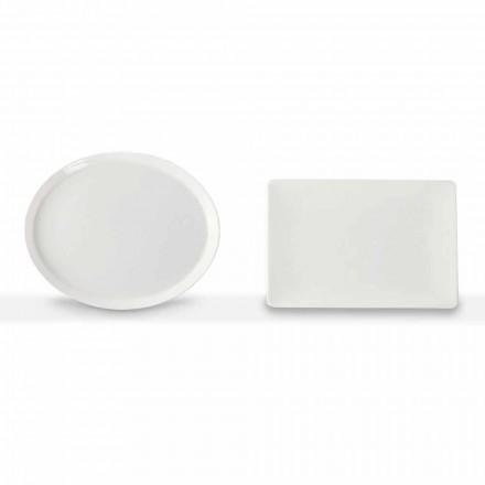 Essteller Set Oval und Rechteck Design 3 Stück in Porzellan - Egle