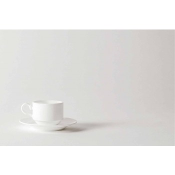 Cappuccino-Tassen aus weißem Porzellan Service 14 Frühstücksstücke - Samantha