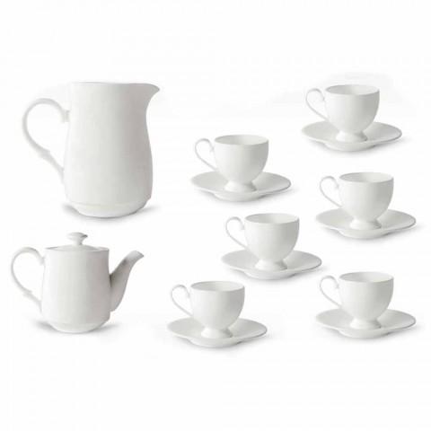 Cappuccino Cups Service mit Fuß 14 Stück aus weißem Porzellan - Armanda