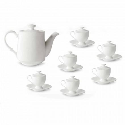 Kaffeetassen Service mit Fuß und Deckel 19 Stück aus Porzellan - Armanda
