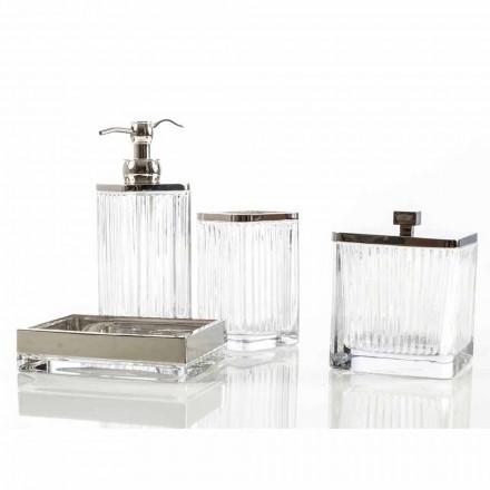 Modernes Badezimmerzubehörset aus Metall und Glas Priola