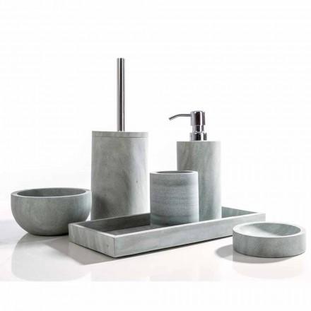 Modernes Badezimmerzubehör in grauem Stein Montale