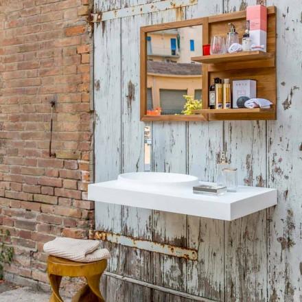 Modernes Badezimmer-Hängemöbelset aus massivem Brusson