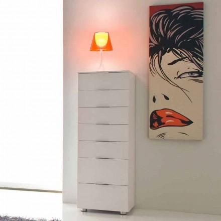 Modernes Designerbett aus glänzendem weiß lackiertem Roberto