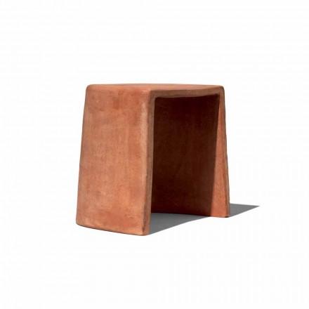 Niedriger Hocker für handgefertigte Terrakotta im Freien Made in Italy - Julio
