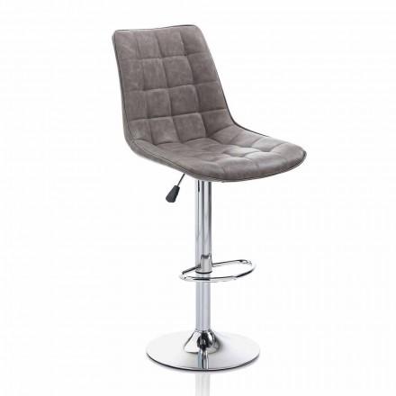Design Hocker mit Kunstledersitz und Chromstruktur, 2 Stück - Chiotta