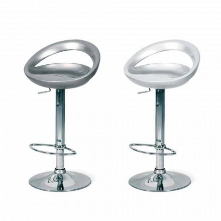 Design Hocker mit Sitz aus Abs und verchromten Gestell Pollina