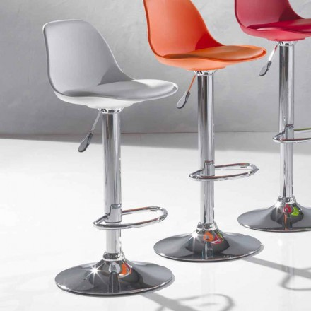 Höhenverstellbar Hocker aus Kunsteleder, modernes Design - Rosa