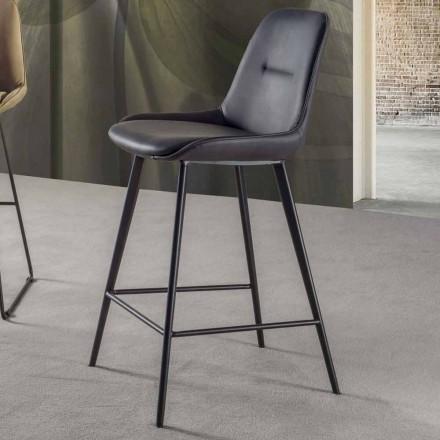 Moderner Hocker H 80 cm, Sitzfläche aus Nubuk-Kunstelder - Ines