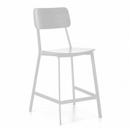 Moderner Metallhocker mit Sitz und Rückenlehne aus Holz, 2 Stück - Habibi