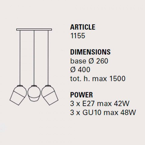 Hängeleuchte mit drei Metall - Magnet - Toscot - Lampen