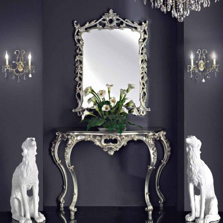 Wandspiegel, Holzkonsole und Platte, handgefertigt in Italien, Giacomo