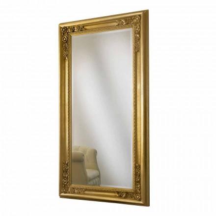 Gold / Silber Holz Wandspiegel, komplett handgefertigt in Italien, Michele