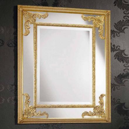 Rechteckiger Wandspiegel aus Holz, hergestellt in Italien, Valentino