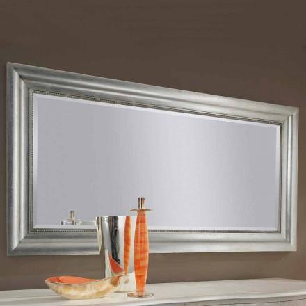 Handgearbeiteter Wandspiegel aus Gold / Silberholz, hergestellt in Italien Alessandro