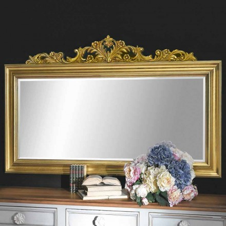 Handgearbeiteter Wandspiegel aus Holz und Harzfries hergestellt in Italien Matteo