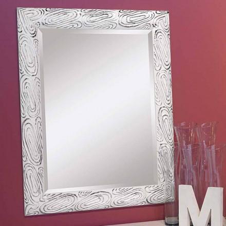 Gold, Weiß, Silber Wandspiegel aus Holz, Eugenio, hergestellt in Italien