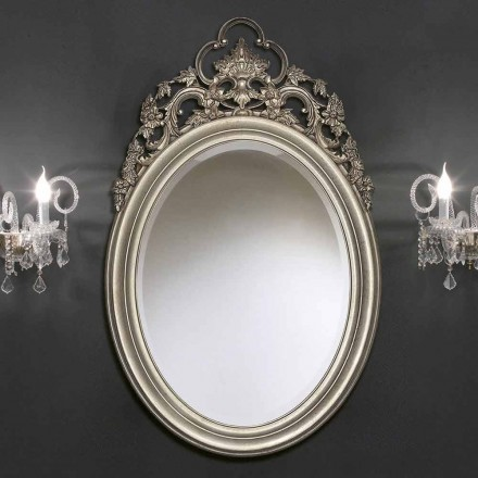 Handgearbeiteter ovaler Wandspiegel aus Silber / Gold, hergestellt in Italien, Giorgio