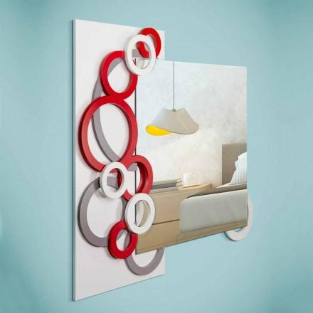 Weißer roter grauer moderner Design-Wandspiegel in Holz - Illusion