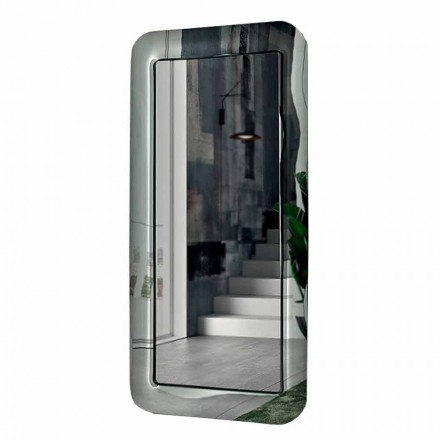 Langer rechteckiger Spiegel mit Kristalleffektrahmen Made in Italy - Loop