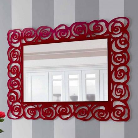 Großer moderner Wandspiegel aus rotem Plexiglas - Rosalinda