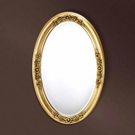 Moderner ovaler Spiegel handgefertigt aus Holz, hergestellt in Italien, Federico