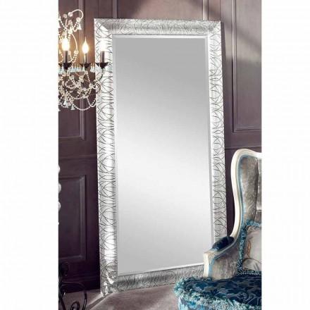 Rechteckiger Wandspiegel aus Tannenholz, hergestellt in Italien, Achille