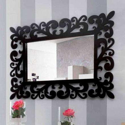 Großer rechteckiger Wandspiegel mit modernem Design aus schwarzem Holz - Manola