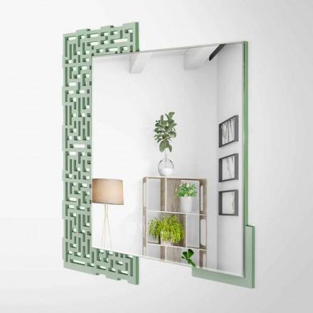 Moderner quadratischer Wandspiegel in verziertem grünem Holz - Labyrinth