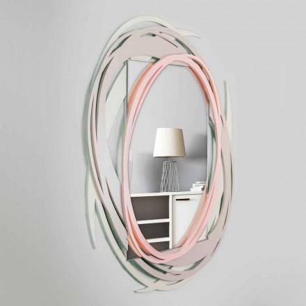 Moderner Wandspiegel mit dekorativem Design in farbigem Holz - Orbit