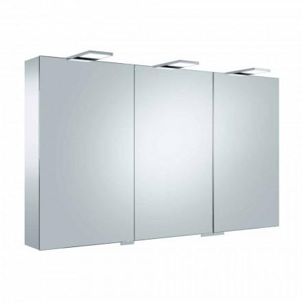 Containerspiegel mit 3 Türen mit 9 Innenregalen und LED-Beleuchtung - Ratsche
