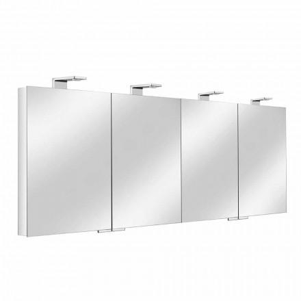 Spiegelbehälter mit 4 Kristalltüren mit 12 Regalen und 4 LED-Leuchten - Maxi