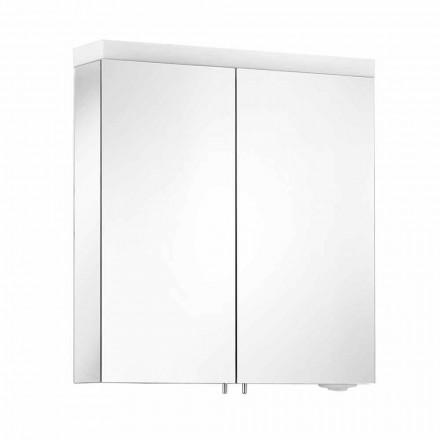 Spiegel mit 2 Türen aus silber lackiertem Aluminium, Modern Alfio