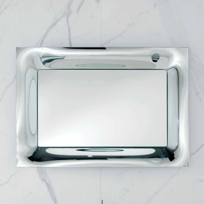 Badezimmer Spiegelrahmen Silber geschmolzenes Glas modernes Design Arin