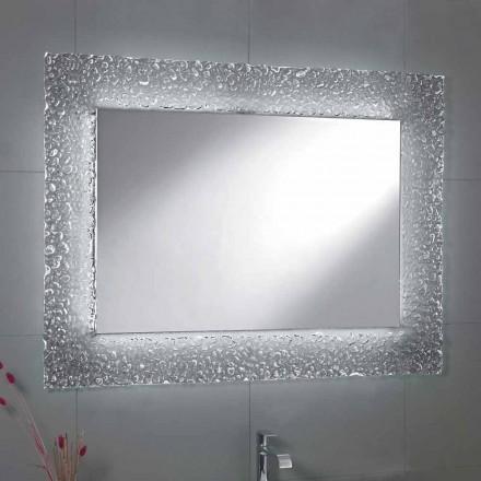 Moderner Badezimmerspiegel mit Glasrahmendekoration und LED-Tara-Lichtern