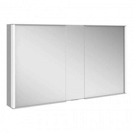 Moderner Wandspiegel mit 3 Türen aus silber lackiertem Aluminium - Demon