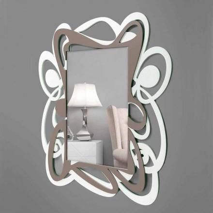 Großer moderner Design Weiß und Beige dekorativer Wandspiegel - Bocchio
