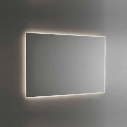 Von hinten beleuchteter Badezimmerspiegel mit sandgestrahltem Rahmen Made in Italy - Floriana
