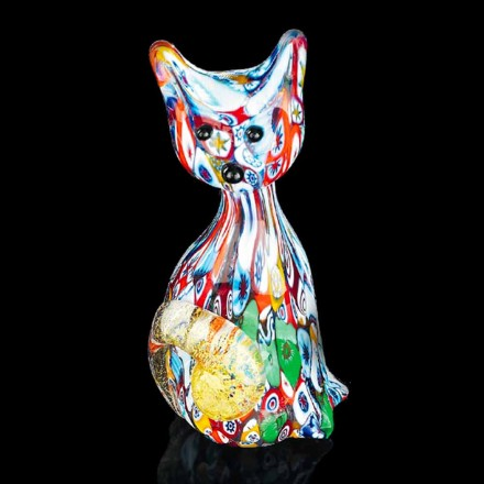 Cat Shaped Statue im Mehrfarben-Murano-Glas Made in Italy, Epifanio