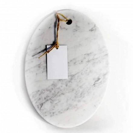 Modernes ovales Schneidebrett aus weißem Carrara-Marmor Made in Italy - Masha