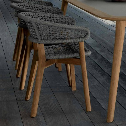 Talenti Moon Stuhl aus natürlichem Teakholz für den Garten made in Italy