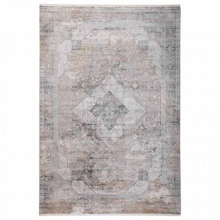 Design Teppich in Grau Beige Viskose und Acrilic mit Zeichnung - Präsident