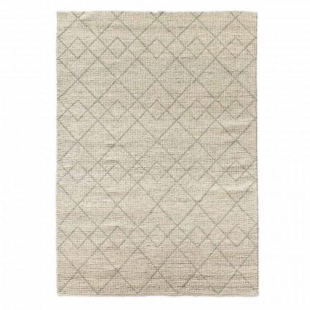 Moderner Wohnzimmer-Teppich handgewebt in geometrischem Wolldesign - Geome