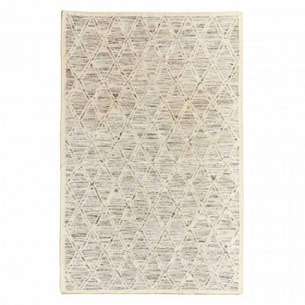 Moderner Teppich aus Wolle und Baumwolle Elfenbein mit Fantasie für Wohnzimmer - Peppo