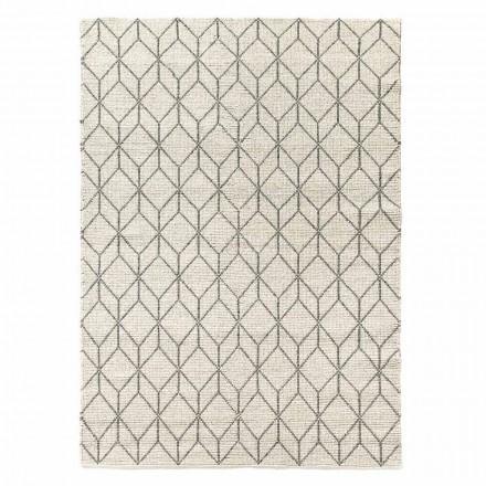 Moderner handgewebter Teppich mit geometrischem Design in Wolle für Wohnzimmer - Geome