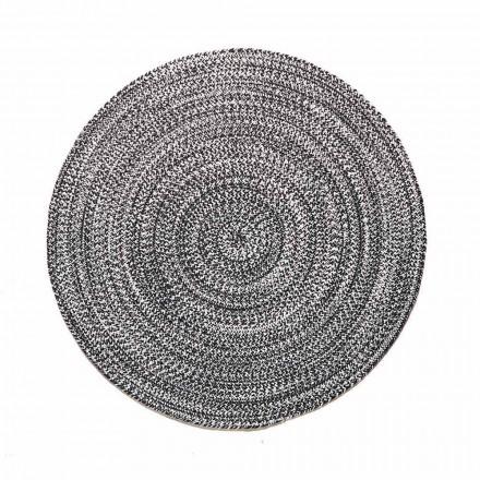 Moderner runder Teppich für Wohnzimmer in handgewebter Baumwolle - Redondo