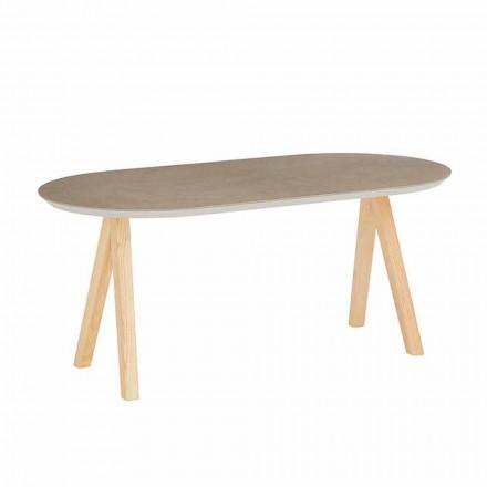 Couchtisch aus Keramik und Naturholz Modern Oval Design - Amerigo